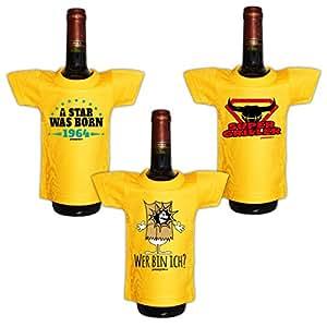 Mini Set 3pequeños en el paquete::: 1964–Barbacoa–Sprüche::: Camisa para la botella de Sylvester Nochevieja.