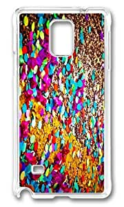 MOKSHOP Adorable colored confetti Hard Case Protective Shell Cell Phone Cover For Samsung Galaxy Note 4 - PC Transparent