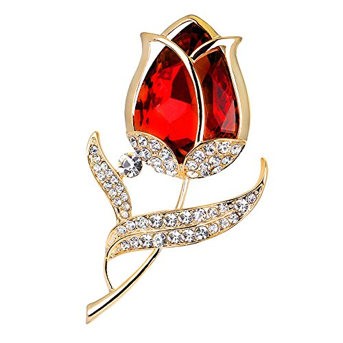 fani Red Rose Flower Brooch Pin Elegance Wedding Party Crystal Brooch for (Rose Rhinestone Brooch)