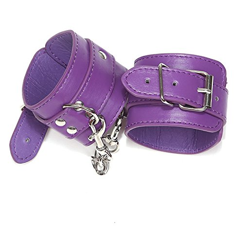 Sexy PU Leather Handcuffs Fetish Sex Bondage BDSM Restraints Wrist Hand Cuffs Sex Toys for Couples Adult Games for Women Men O2 Purple by Sex Adult Games