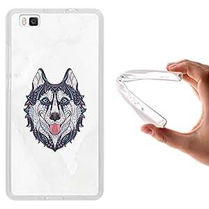 WoowCase Funda Huawei P8 Lite, [Huawei P8 Lite ] Funda Silicona Gel Flexible Ethnic Perro Husky, Carcasa Case TPU Silicona - Transparente