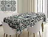 Unique Custom Cotton And Linen Blend Tablecloth Traditional House Decor Medieval Persian Palace Flower Leaf Shapes Arabian Decor Artwork Light BlueTablecovers For Rectangle Tables, 70 x 52 Inches