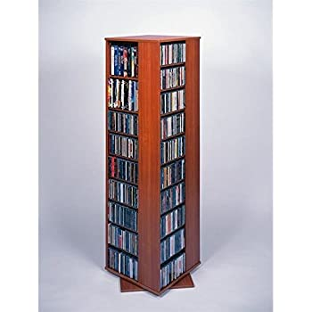 leslie dame cd1040chy revolving cd dvd storage tower in light cherry