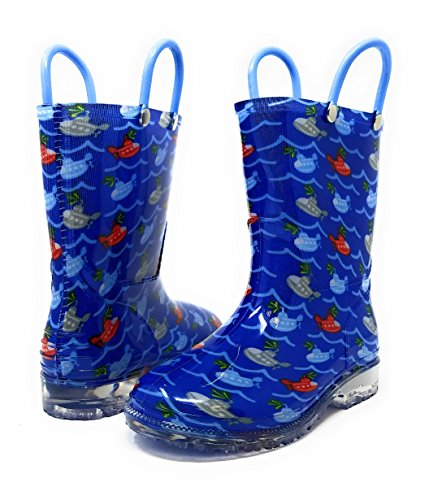 Zac & Evan Toddler Boys Printed High Cut Puddle Proof Rain Boots Submarine Size 5/6