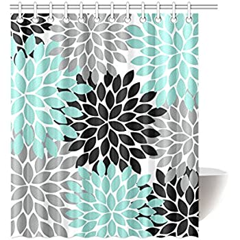 Black Grey Green Dahlia Floral Pattern Polyester Waterproof Shower Curtains  60 X 72 By Flower Shower