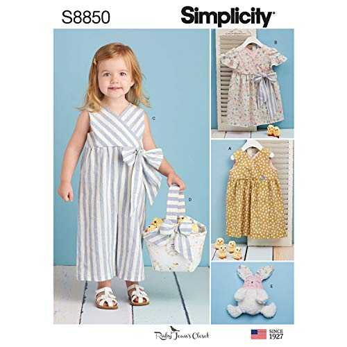 (Simplicity US8850A Pattern S8850 Toddlers' Dress, Jumpsuit, Basket and Toy, A (A (1/2-1-2-3-4))