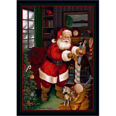 Winter Seasonal Santa's Visit Christmas Novelty Rug Rug Size: 5'4
