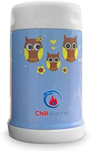 ChillWarmer Stainless Steel Food Jar - Insulated 16 Ounce Thermal FunJar (Blue)