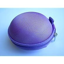 Purple Case for Plantronics Backbeat Go , Marque 2 M165 , Marque M155 , M55 M50 M28 M25 M24 M20 , Savor M1100 , M100 MX100 , Discovery 975 925 Wireless Bluetooth Headset M-165 M-155 M-55 M-50 M-28 M-25 M-24 M-20 M-1100 M-100 MX-100 Bag Holder Pouch Hold Box Pocket Size Hard Hold Protection - Protect Save Earhooks Ear Hook Ear Loop Ear Bud Ear Gel Eargel