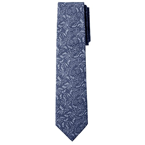 Jacob Alexander Men's Slim Width 2.75'' Floral Neck Tie - Slate Blue by Jacob Alexander