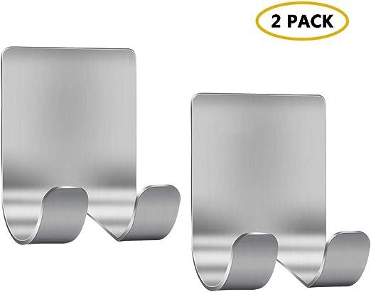 plateado ganchos de acero inoxidable autoadhesivos Ganchos de ba/ño con soporte albornoz oranizador de ducha de cocina impermeable para toalla