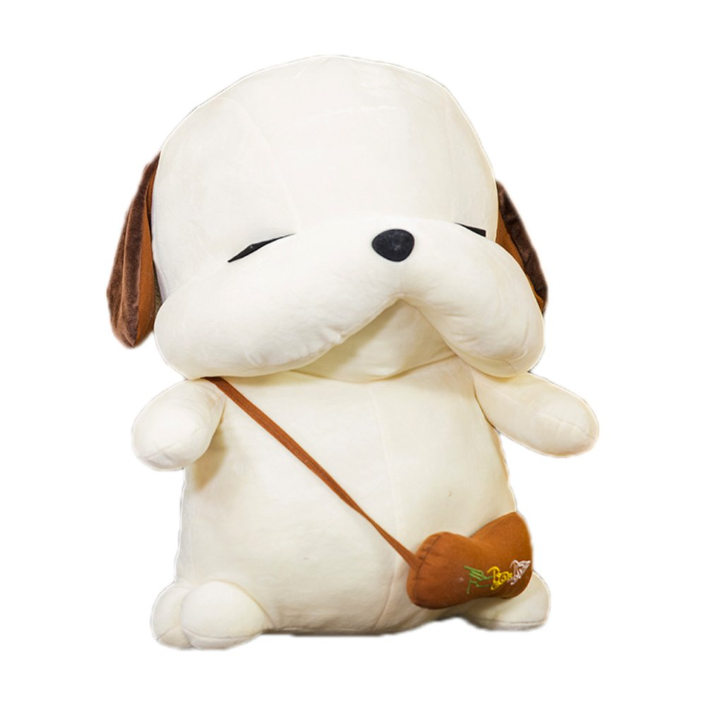 Lovely Embroidery Cuddly Ins Cartoon Cute Puppy Dog Stuffed Animals 3D Plush Lumbar Soft Hugging Figure Bolster Bed Cushion Nursery Home Office Decor Baby Play Toy Sleeping Throw Pillow Gift White