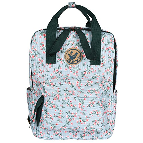 Micoop Waterproof Floral Backpack Handbag Travel School Bag for Girls and Women (Light Green Pink Floral L) by Micoop
