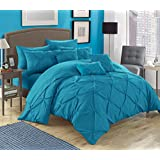 Chic Home 10 Piece Hannah Pinch Pleated, Ruffled and Pleated Complete Queen Bed in a Bag Comforter with Sheet Set, Turquoise