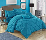 Chic Home 10 Piece Hannah Pinch Pleated, ruffled and pleated complete King Bed In a Bag Comforter Set Turquoise With sheet set