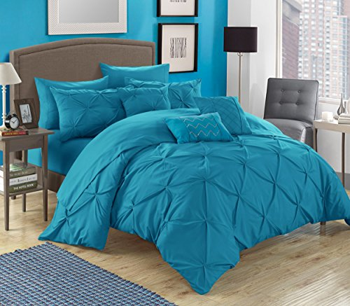 Chic Home 10 Piece Hannah Pinch Pleated, ruffled and pleated complete Queen Bed In a Bag Comforter Set Turquoise With sheet set