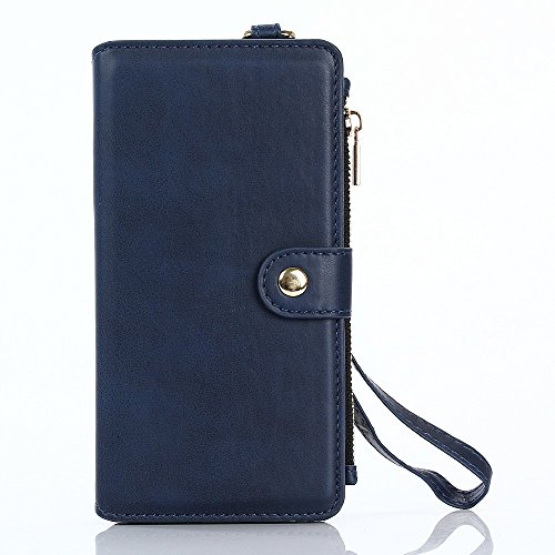 2-in-1 Wallet Carry Bag + Inner TPU Back Mobile Tasche Hüllen Schutzhülle - case with Lanyard for iPhone 6s 6 - blau