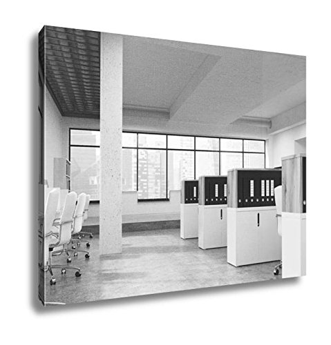 Ashley Canvas Coworking Office With Singapore View, Kitchen Bedroom Living Room Art, Black/White 24x30, AG5871496 (Cabinet Singapore Bar)