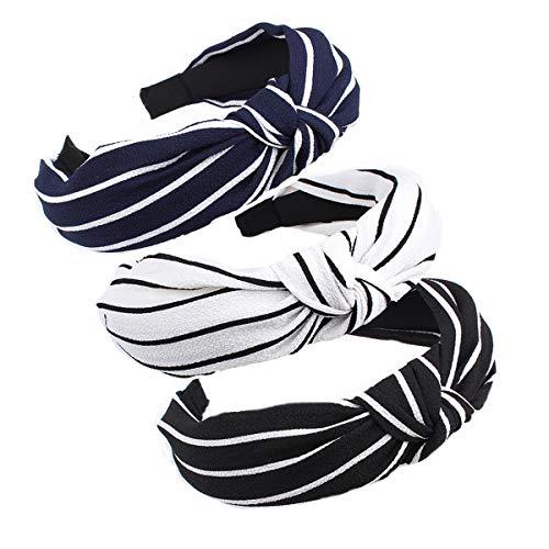 Chiffon Mix - 3PCS Hair Hoop,Women Handmade Twist Knot Turban Style Cloth Cross Knot Hair Hoop Hairband Headband Headwear Hair Accessories by Beauty Hair (G-chiffon(3Color mix))