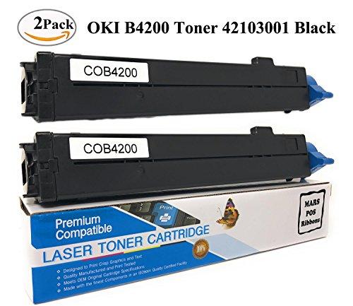 OKIDATA 42103001 OKI B4200 Toner Cartridge 2 PACK Black Compatible for OKI B4100 B4200 B4250 B4300 B4300N B4350 B4350N