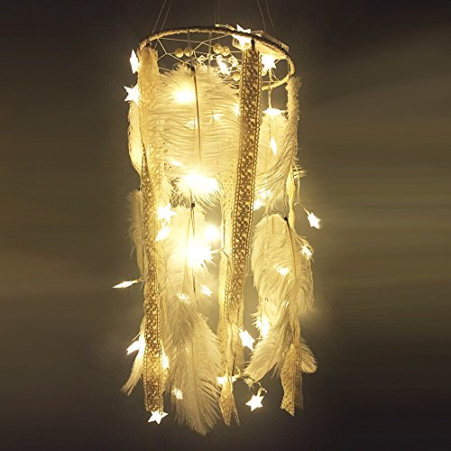 HuiJv 9.5×45inch Big Dream Catcher LED Star Lamp Circular Net With feathers Wall Hanging kitchen Decoration Decor Ornament Craft (white)