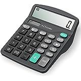 Calculator,Vilcome 12-Digit Solar Battery Office Calculator with Large LCD Display Big Sensitive Button, Dual Power Desktop Calculators (Black)