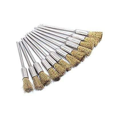 SmallLeft Cleaning Brass Brush Kit for Rotary Polishing Grinding Tool Wire Pen/ Pencil Dremel Pack Of 12