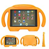 TUYOO Fire HD 8 2017 Kids Case, Fire HD 8 2016 Kids Case, Kids Friendly Hand-Free Cartoon Case with 3D Stand for All New Amazon Fire HD 8 Tablet (8'' Display, 2016&2017 Release)(Orange)