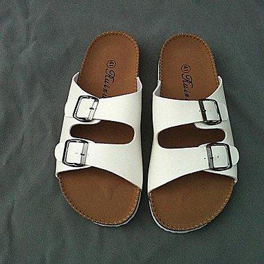 Zapatos de hombre casual sandalias de cuero sintético blanco/negro Blanco