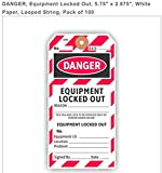 DANGER, EQUIPMENT LOCKED OUT, 5.75'' X 2.875'', WHITE PAPER, LOOPED STRING, PACK OF 100