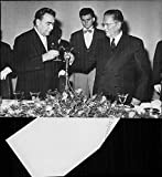 Vintage photo of Soviet President Leonid Brezhnev during an official state visit to Serbia