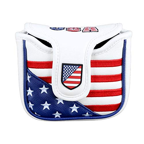 TOMOYOU Stars Stripes Golf Mallet Putter Head Cover Protector USA American Flag Golf Driver Fairway Wood Hybrid Putter Cover Leather Headcover for Odyssey Magnetic Closure