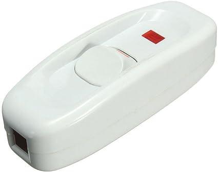 Interruptor de Boton de linea Interruptor de luz plastico Interruptor Prueba de Agua para la l/ámpara de Dormitorio de Escritorio de Area al Aire 3A//250V Interruptores basculante de cable en linea