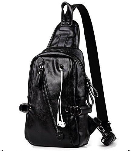 Chestguardy taza hombres IPAD de paseo bolsa los cartera de color de viaje de Black cofre suave de capacidad lateral la Black hombro sólido gran bolsa de rnRr0qWwP