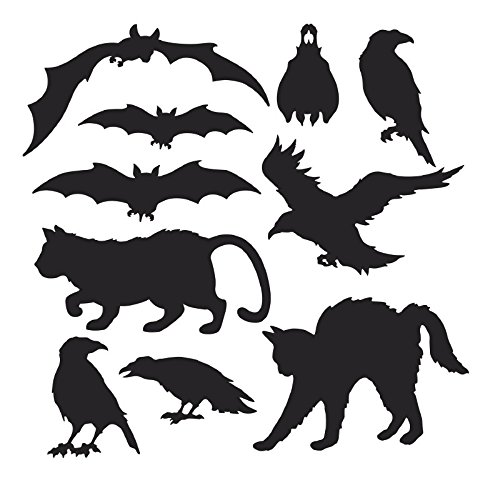 Club Pack of 120 Black Cats, Bats, and Birds Halloween Silhouettes Cutout Decorations ()