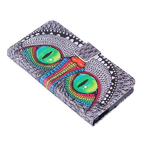 Lusee® PU Caso de cuero sintético Funda para ZTE Blade A452 / X3 / Q519T 5.0 pulgada Cubierta con funda de silicona grises ojos de lechuza