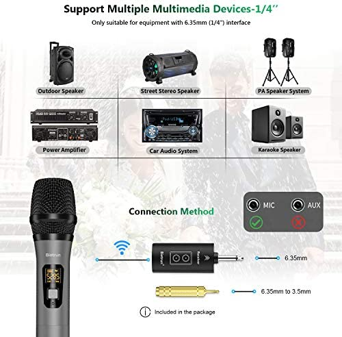 Wireless Microphone for Singing with Bluetooth, UHF Dual Handheld Dynamic Metal Cardioid Mic System, Rechargeable Receiver, 160ft Range, 1/4'' Output, for Karaoke, AMP, PA Speaker, Singing Machine