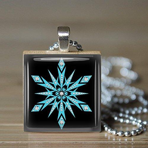 Snowflake Scrabble Tile Pendant Necklace - Wearable Art