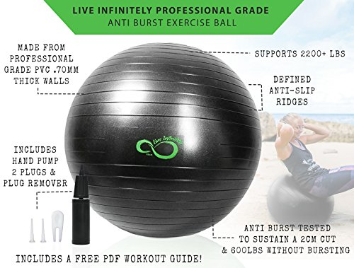 Exercise Ball -Professional Grade Exercise Equipment Anti Burst Tested with Hand Pump- Supports 2200lbs- Includes Workout Guide Access- 55cm/65cm/75cm/85cm Balance Balls (Dark Grey, 55 cm) by Live Infinitely (Image #2)