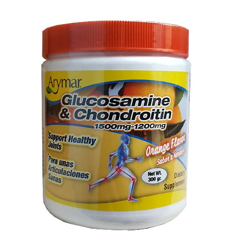 Arymar Glucosamine & Chondroitin Powder 1500mg-1200mg with Collagen Orange Flavor Support Healthy Joints, Orange, Orange, 300 Gram, X-Large (Glucosamine Mix Drink)