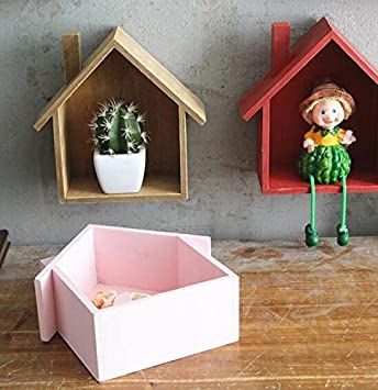 Multifunci/ón para estantes Casita colgante de madera Webest Rosa 19*24*9cm marcos o plantas decorativas