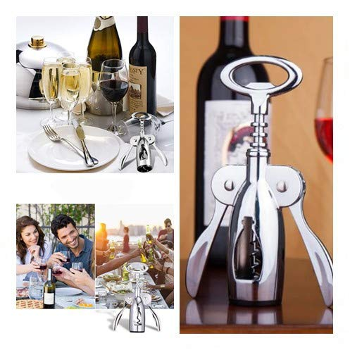 Wing Corkscrew Wine Opener, 2in1 Multifunctional Red Wine and Beer Remover, Stainless Steel & Zinc Alloy Material, Bar/Kitchen/Restaurant Tools, Silver