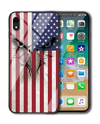 (KITATA iPhone XR Case Slim Fit, American Flag Eagle Vintage Art Print Design, Shockproof Impact Resistant Drop Protection Protective TPU Silicone)
