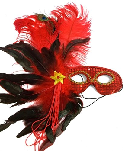 [Red Elegant Masquerade Mardi Gras Feather Mask] (Vegas Showgirl Costumes)