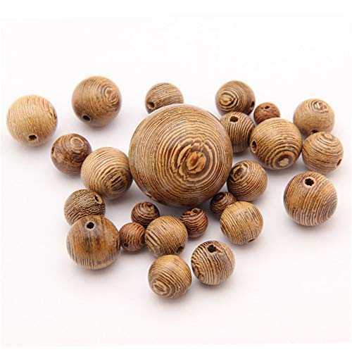 Calvas DIY Natural Wood Beads Loose Round Wenge Wooden Beads Spacer Beads for Bracelet Necklace Jewelry Findings 200Pc/Lot Door Frame - (Item Diameter: 8mm)