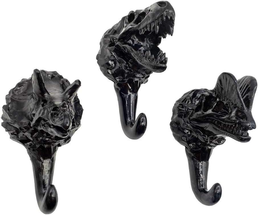 Bronce BLANCHO BEDDING 3pcs realistas Dinosaurios f/ósiles Ganchos de Resina colgadores de Pared montados Ganchos de la Capa de Servicio Pesado