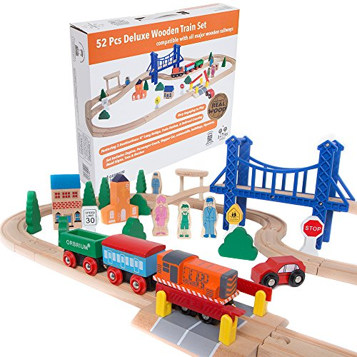 Orbrium Toys 52 Pcs Deluxe Wooden Train Set with 3 Destinations Fits Thomas, Brio, Chuggington, Melissa and Doug, Imaginarium Wooden Train Doug Stop Sign