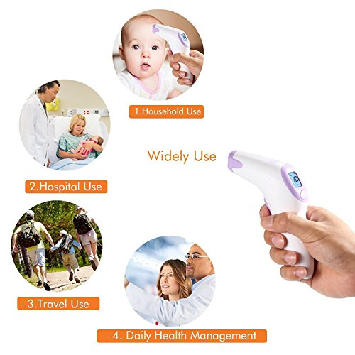 Medical Forehead Thermometer, Dr.meter CE FDA Approved Digital Clinical No Touch Instant Professional Fever Temperature Infrared Scanner(FT376) with Collection bag for Baby, Toddlers, Pregnant Women