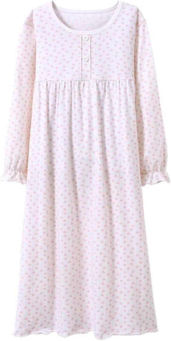 Camicia da Notte Bambina Maniche Lunghe Cotone Pigiama Vestito da Notte Bianca per 90-150CM