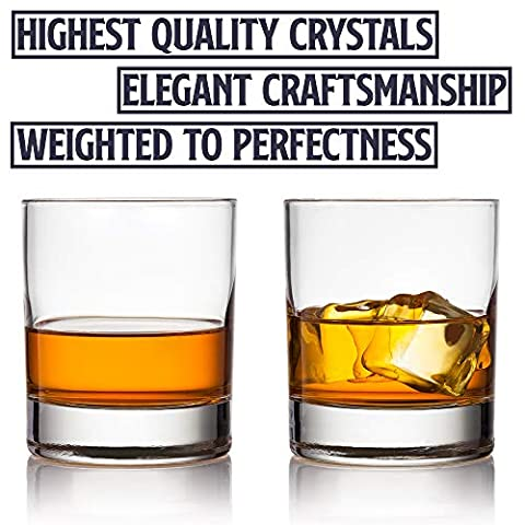 Old Fashioned Whiskey Glass Set, Premium Rocks Glasses for Cocktails and Bourbon, 10 1/4 Oz, Set of 6, Lead-Free Crystal…